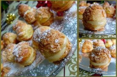 Choux craquelins et crème pâtissière aux épices de Noël