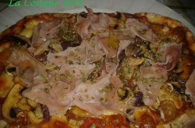 Pizza aux champignons et aubergines