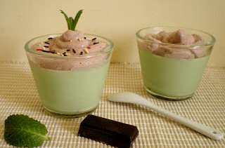 Panna cotta menthe chocolat et chantilly cacao