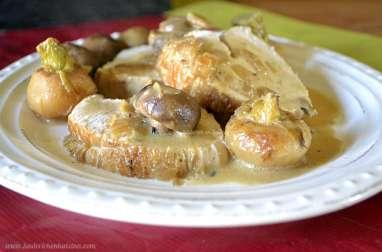 Cocotte de dinde en rôti aux navets nouveaux