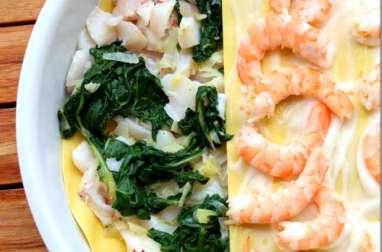 Lasagnes aux blettes, dos de cabillaud et crevettes