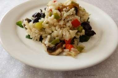 Épinards aux haricots noirs et riz complet