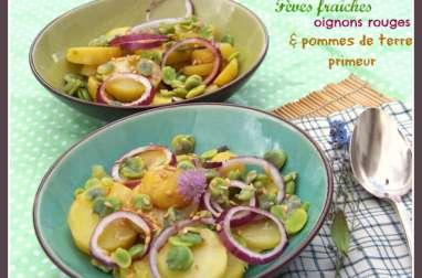 Salade du Printemps fèves, pommes de terre, oignons rouges