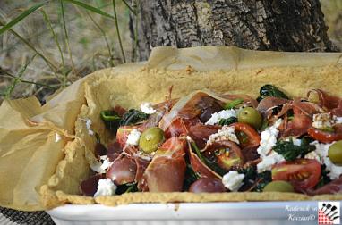 Tarte à la brousse, épinards et serrano