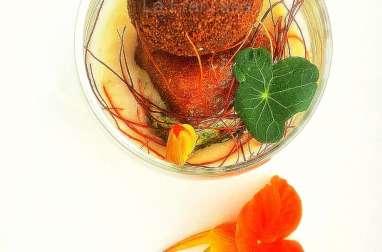 Pintxo de cromesquis au boudin noir et pied de cochon et crème de cocos à l'ail