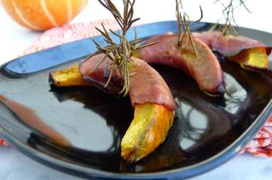 Potimarron rôti au bacon et au romarin
