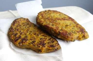 Galettes de patate douce et lentilles vertes