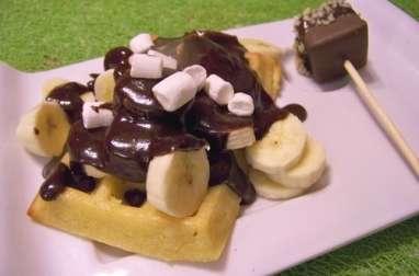 Gaufres au four sauce chocolat shamallow sur banane et little shamalows