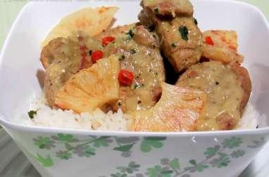 Filet mignon de porc au curry et lait de coco