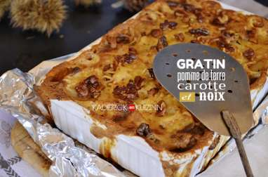 Gratin de legumes façon dauphinois avec pomme de terre, carotte, noix et crème