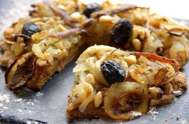 Pissaladière avec pâte à la farine d'orge (IG bas)