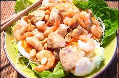 Salade façon bo bun crevettes et poulet
