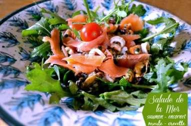 Salade tiède saumon, fruits de mer grillés à la plancha