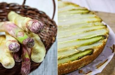 Fin gâteau d'asperges, vinaigrette huile d'olive et fleurs de thym