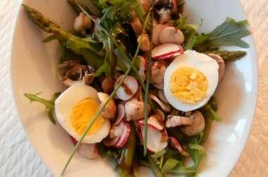 Salade roquette, haricots verts, asperges, radis, champignons, oeuf dur, roquette