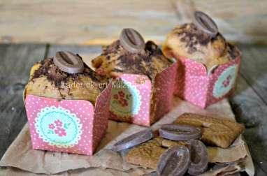 Muffins aux spéculoos et double chocolat