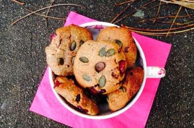 Cookies hivernaux aux amandes, beurre de cacahuètes, chocolat, cranberries