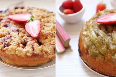 Gâteau renversé à la rhubarbe et au crumble à la fraise