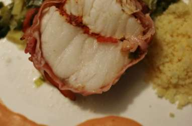 Rôti de Lotte au piment d'espelette sur fondue de poireaux