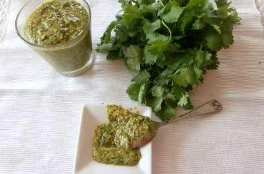 Pesto de coriandre, graines de sésame torréfiées, citron et gouda vieux