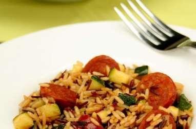 Risotto de riz de Camargue aux courgettes et chorizo