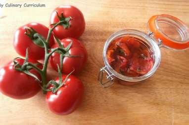 Tomates confites au golden syrup et basilic