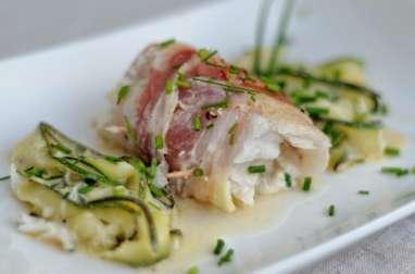 Rouleaux d'églefin au chèvre, ciboulette et pancetta