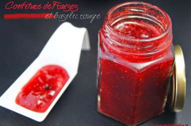 Confiture de fraises et basilic rouge