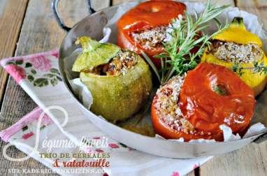 Légumes farcis à la ratatouille et trio de céréales bio