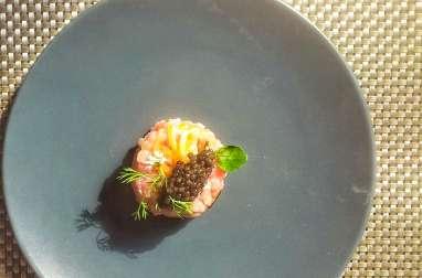Tartare de veau au caviar, concombre et sel Maldon