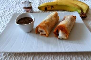 Nems banane Nutella sauce chocolat