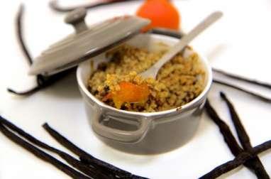 Crumble abricots chocolat et flocons avoine