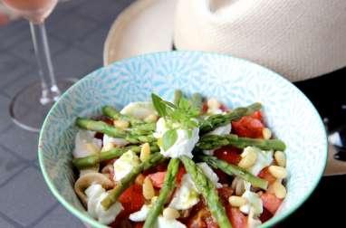 Salade de pâtes asperges tomates et mozzarella