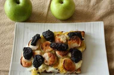 Bruschetta pommes Granny Smith aux deux boudins