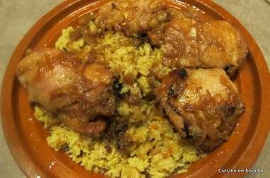 Poulet au miel et riz jaune aux épices