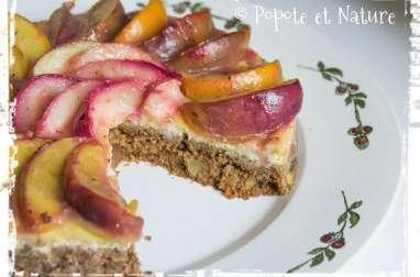 Cheesecake aux deux nectarines vanillées sur fond de muffins