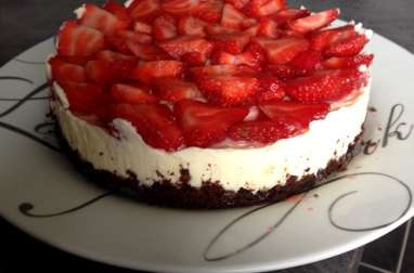 Cheesecake base brownie, chocolat blanc et fraises