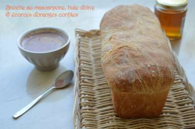 Brioche au mascarpone, huile d'olive et écorces d'oranges confites
