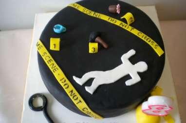 Gâteau Scène de Crime en pâte à sucre