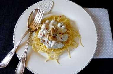Spaghettis aux champignons et à la crème