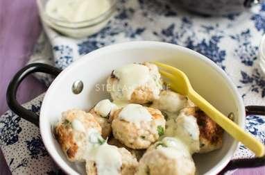 Boulettes de poulet citron et coriandre, sauce légère à la menthe