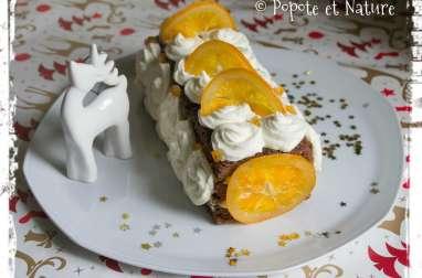 Moelleux au chocolat, ganache au chocolat blanc et jus d'oranges, chantilly mascarpone et oranges confites