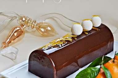 Bûche clémentine, pain d'épices, yaourt, chocolat