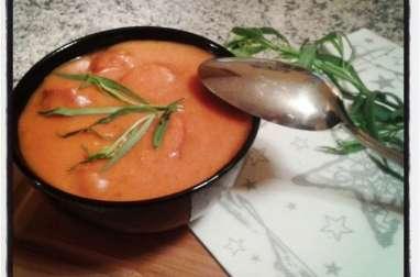Velouté d'aubergines à la tomate et au riz