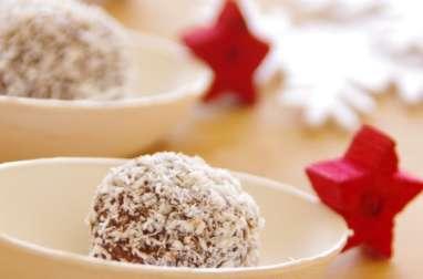 Truffes au chocolat et noix de coco coeur noisettes