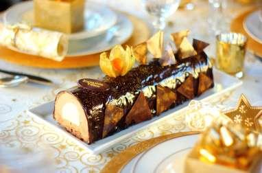 Bûche mousse chocolat au lait et chocolat blanc