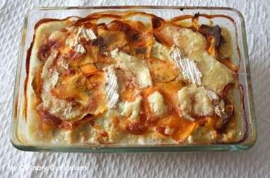 Gratin de patates douces, butternut et bleue d'Artois au poulet
