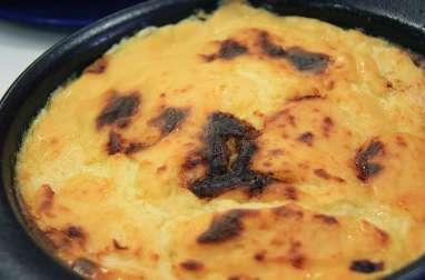 Gratin de cabillaud à la crème, moutarde, fromage et ciboulette