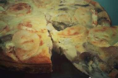 quiche sans pâte poulet chèvre champignons