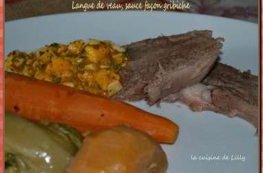 Langue de veau, sauce façon gribiche